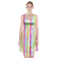 Colorful Abstract Stripes Circles And Waves Wallpaper Background Racerback Midi Dress