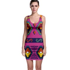 Abstract A Colorful Modern Illustration Sleeveless Bodycon Dress