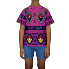 Abstract A Colorful Modern Illustration Kids  Short Sleeve Swimwear