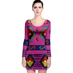 Abstract A Colorful Modern Illustration Long Sleeve Bodycon Dress