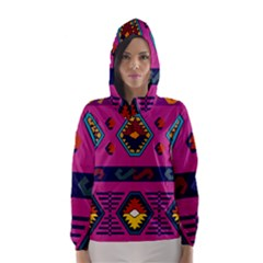 Abstract A Colorful Modern Illustration Hooded Wind Breaker (Women)