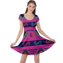 Abstract A Colorful Modern Illustration Cap Sleeve Dresses