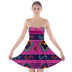 Abstract A Colorful Modern Illustration Strapless Bra Top Dress
