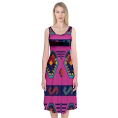 Abstract A Colorful Modern Illustration Midi Sleeveless Dress