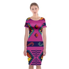 Abstract A Colorful Modern Illustration Classic Short Sleeve Midi Dress