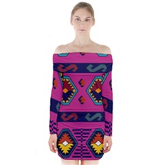 Abstract A Colorful Modern Illustration Long Sleeve Off Shoulder Dress