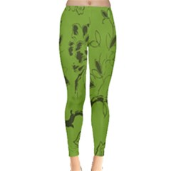 Abstract Green Background Natural Motive Leggings