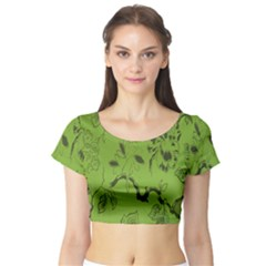 Abstract Green Background Natural Motive Short Sleeve Crop Top (Tight Fit)