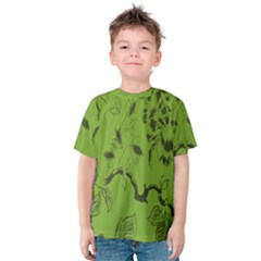 Abstract Green Background Natural Motive Kids  Cotton Tee