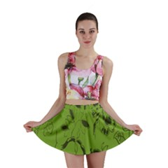 Abstract Green Background Natural Motive Mini Skirt