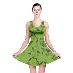 Abstract Green Background Natural Motive Reversible Skater Dress