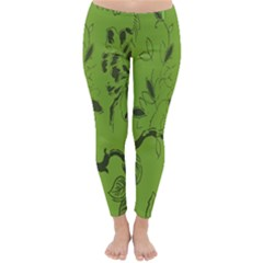 Abstract Green Background Natural Motive Classic Winter Leggings