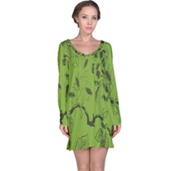 Abstract Green Background Natural Motive Long Sleeve Nightdress