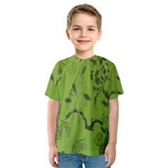 Abstract Green Background Natural Motive Kids  Sport Mesh Tee