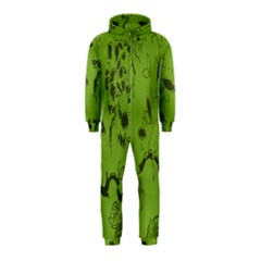 Abstract Green Background Natural Motive Hooded Jumpsuit (kids)