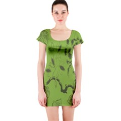 Abstract Green Background Natural Motive Short Sleeve Bodycon Dress