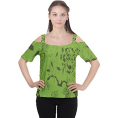 Abstract Green Background Natural Motive Women s Cutout Shoulder Tee