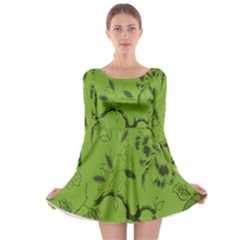 Abstract Green Background Natural Motive Long Sleeve Skater Dress