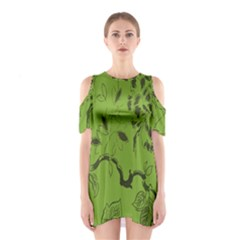 Abstract Green Background Natural Motive Shoulder Cutout One Piece