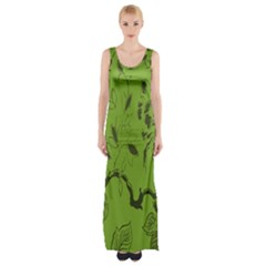 Abstract Green Background Natural Motive Maxi Thigh Split Dress