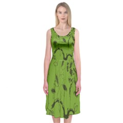 Abstract Green Background Natural Motive Midi Sleeveless Dress
