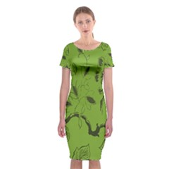 Abstract Green Background Natural Motive Classic Short Sleeve Midi Dress