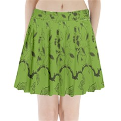 Abstract Green Background Natural Motive Pleated Mini Skirt