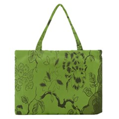 Abstract Green Background Natural Motive Medium Zipper Tote Bag