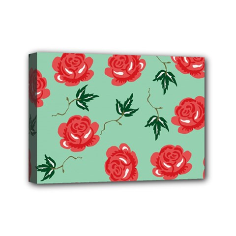 Floral Roses Wallpaper Red Pattern Background Seamless Illustration Mini Canvas 7  X 5