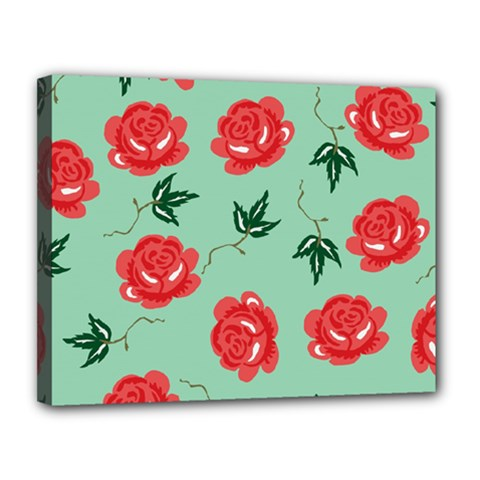 Floral Roses Wallpaper Red Pattern Background Seamless Illustration Canvas 14  x 11