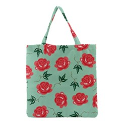 Floral Roses Wallpaper Red Pattern Background Seamless Illustration Grocery Tote Bag