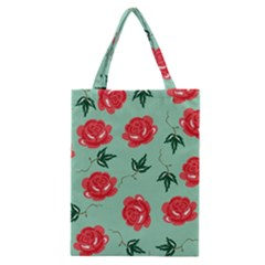 Floral Roses Wallpaper Red Pattern Background Seamless Illustration Classic Tote Bag