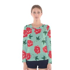 Floral Roses Wallpaper Red Pattern Background Seamless Illustration Women s Long Sleeve Tee