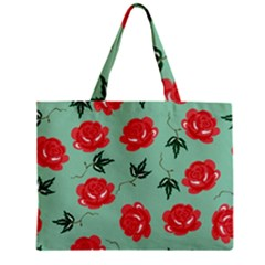 Floral Roses Wallpaper Red Pattern Background Seamless Illustration Zipper Mini Tote Bag