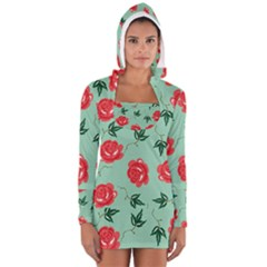 Floral Roses Wallpaper Red Pattern Background Seamless Illustration Women s Long Sleeve Hooded T Shirt
