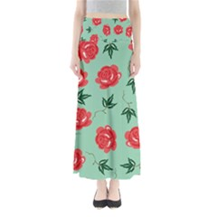 Floral Roses Wallpaper Red Pattern Background Seamless Illustration Maxi Skirts