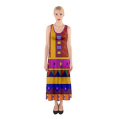 Abstract A Colorful Modern Illustration Sleeveless Maxi Dress