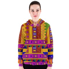 Abstract A Colorful Modern Illustration Women s Zipper Hoodie