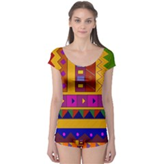Abstract A Colorful Modern Illustration Boyleg Leotard