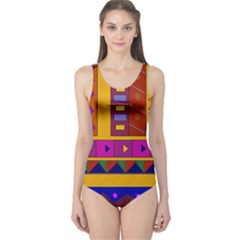 Abstract A Colorful Modern Illustration One Piece Swimsuit