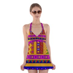 Abstract A Colorful Modern Illustration Halter Swimsuit Dress