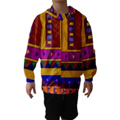 Abstract A Colorful Modern Illustration Hooded Wind Breaker (kids)