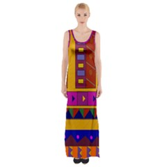 Abstract A Colorful Modern Illustration Maxi Thigh Split Dress