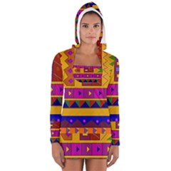 Abstract A Colorful Modern Illustration Women s Long Sleeve Hooded T Shirt