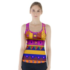 Abstract A Colorful Modern Illustration Racer Back Sports Top