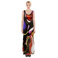 Colourful Abstract Background Design Maxi Thigh Split Dress