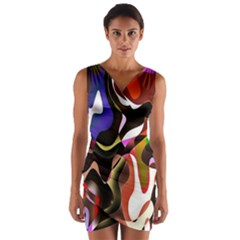 Colourful Abstract Background Design Wrap Front Bodycon Dress