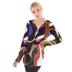 Colourful Abstract Background Design Women s Tie Up Tee