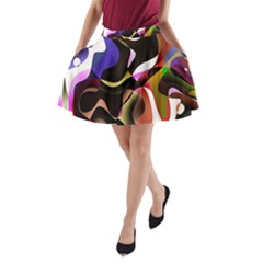 Colourful Abstract Background Design A Line Pocket Skirt