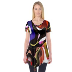 Colourful Abstract Background Design Short Sleeve Tunic